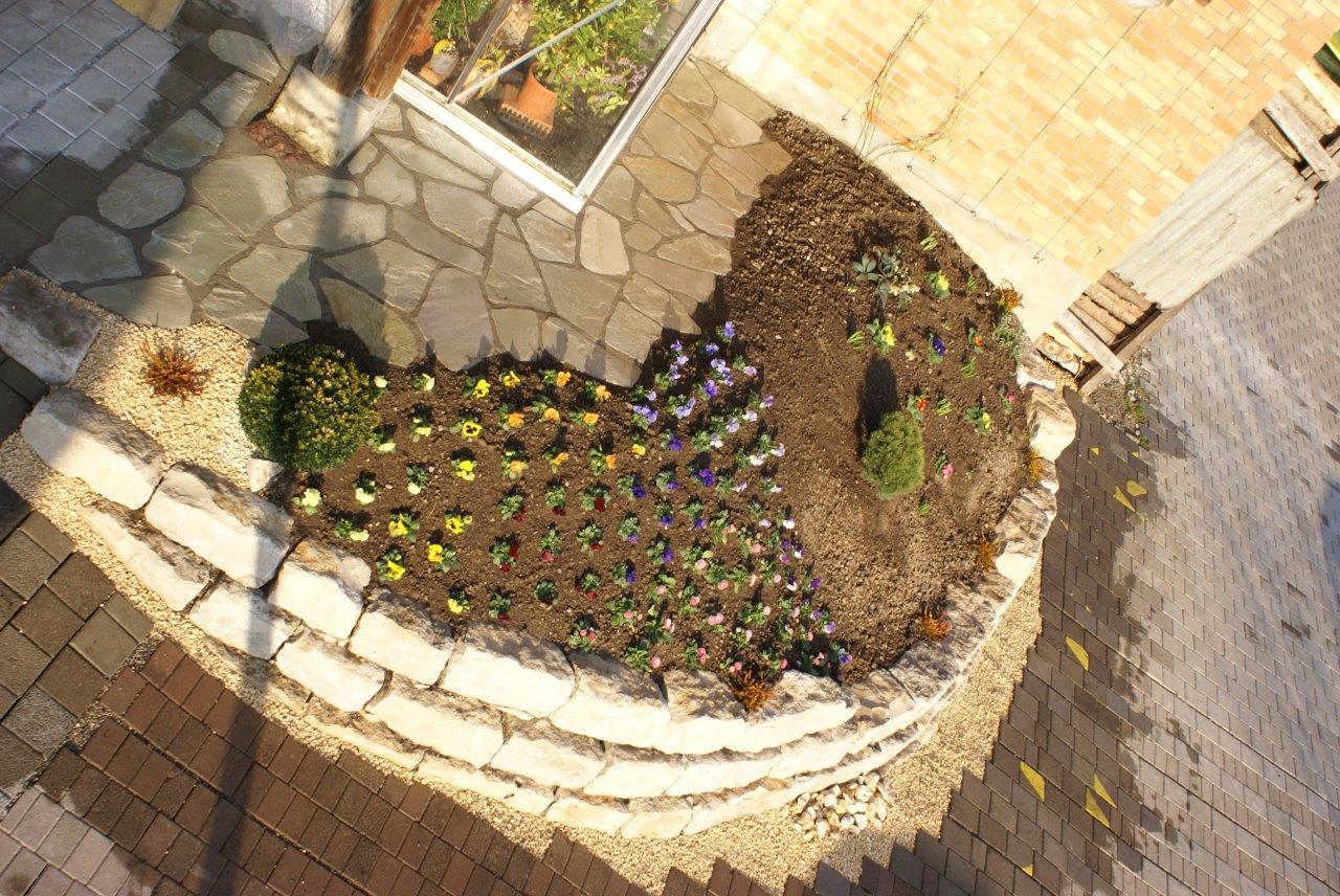Lehrlings-Prüfungsarbeit: Jurakalk-Mauer, Granitplatten, Rabatten-Bepflanzung