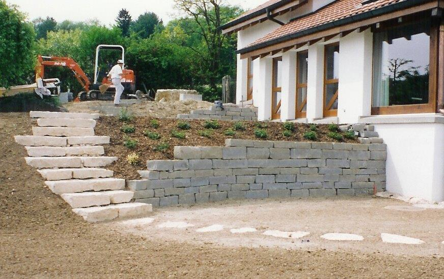 Sandstein-Mauer