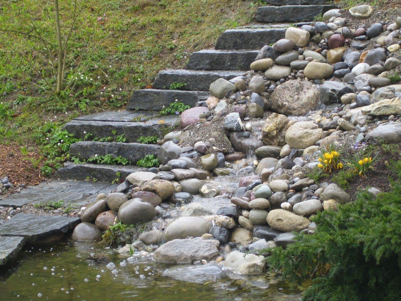 Wasserlauf mit Geröll und Bollensteinen